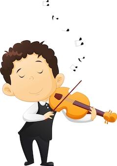 Ładny chłopiec gra skrzypce