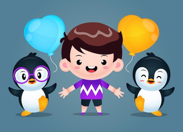 Ładny chłopiec i pingwiny na białym tle na ciemny szary