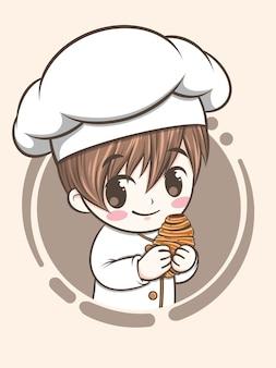 Ładny chłopiec kucharz piekarni trzymając czekoladowy chleb rogalikowy - postać z kreskówki i ilustracja logo