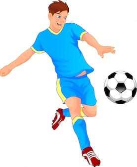 Ładny chłopiec piłkarz