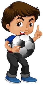 Ładny chłopiec postać z kreskówki trzymając piłkę nożną