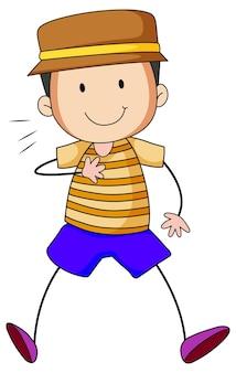 Ładny chłopiec postać z kreskówki w ręcznie rysowane stylu doodle na białym tle