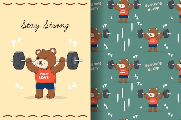Ładny chłopiec siłownia niedźwiedź wzór i karta