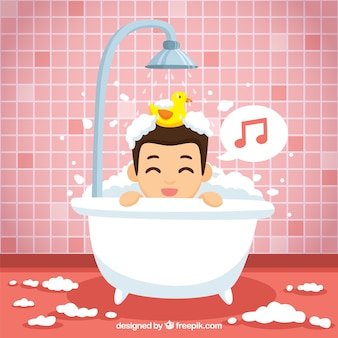 Ładny chłopiec śpiewa w łazience