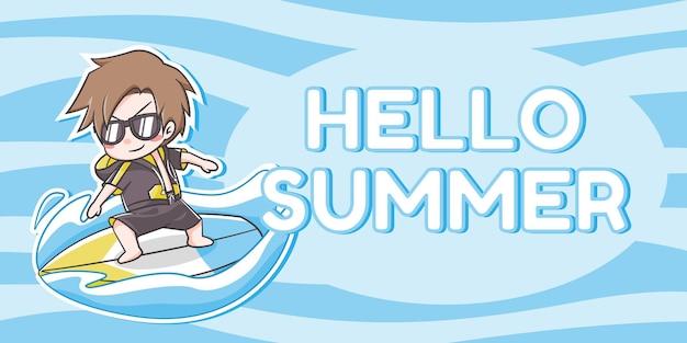 Ładny chłopiec surfing kreskówka i tekst hello summer na jasnym i ciemnoniebieskim falistym tle