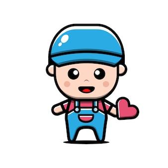 Ładny chłopiec trzymać ilustracja kreskówka serca, koncepcja valentine