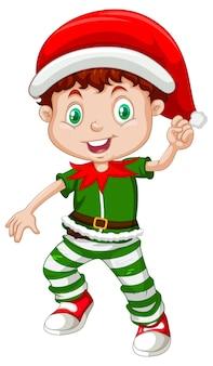 Ładny chłopiec ubrany w kostiumy świąteczne postać z kreskówki