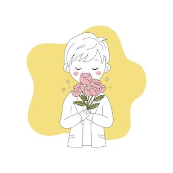 Ładny chłopiec z bukietem kwiatów ręcznie rysowane doodle ilustracja