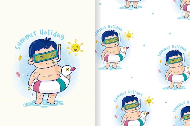 Ładny chłopiec z pierścieniem koło ratunkowe przygotowuje się do pływania w letnie wakacje, wektor kreskówka wzór