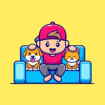 Ładny chłopiec z psem i kotem ikona ilustracja kreskówka.