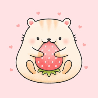 Ładny chomik jeść truskawka kreskówka ręcznie rysowane stylu