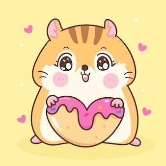 Ładny chomik kreskówka jedzenie deser ilustracja kawaii zwierzę