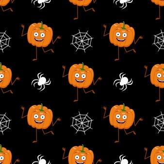 Ładny ciemny wzór z dyni, pajęczyn i pająków.