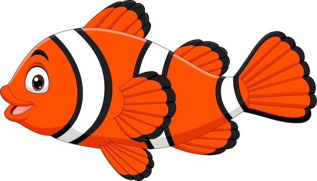 Ładny clown ryb kreskówka na białym tle