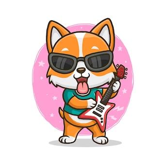 Ładny corgi gra na gitarze na białym tle.