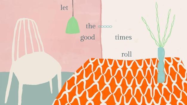 Ładny cytat szablon wektor z ręcznie rysowane wnętrze domu
