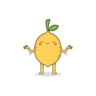 Ładny cytrynowy postać z kreskówki nie dba