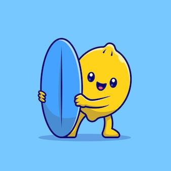 Ładny cytryny surfowanie z deską surfingową ikona ilustracja kreskówka. koncepcja wakacje ikona jedzenie na białym tle. płaski styl kreskówki