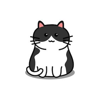 Ładny czarno-biały kot kreskówka