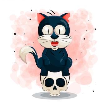 Ładny czarny kot kreskówka na halloweenową ilustrację