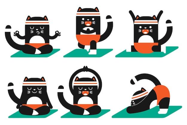 Ładny czarny kot robi joga ćwiczenia zestaw postaci z kreskówek dla zwierząt domowych