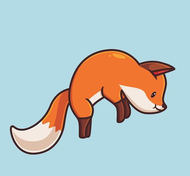 Ładny czerwony lis skaczący kreskówka zwierząt sezon jesień koncepcja na białym tle ilustracja płaski styl