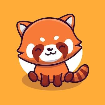 Ładny czerwony panda maskotka charakter ilustracja wektor ikona