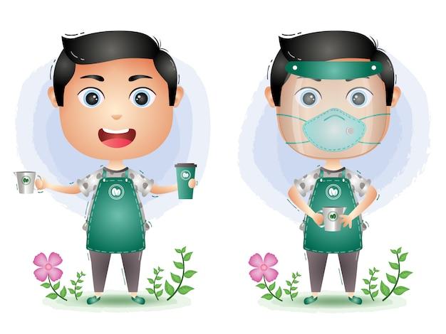 Ładny człowiek barista robi kawę za pomocą osłony twarzy i maski