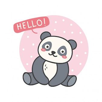 Ładny design z kawaii panda