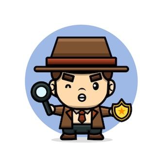 Ładny detektyw trzymając szkło powiększające i odznakę