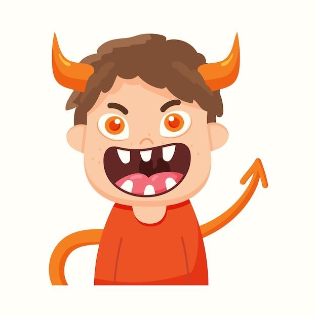Ładny diabeł z rogami w stylu cartoon. ilustracja wektorowa w stylu płaski