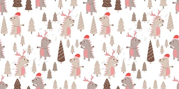 Ładny dino zwierząt wzór doodle zimowy motyw
