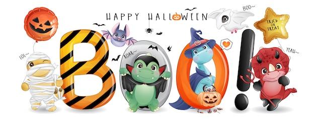Ładny dinozaur doodle na dzień halloween z ilustracji akwarela