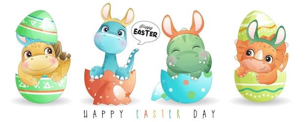 Ładny dinozaur doodle na szczęśliwy dzień wielkanocy