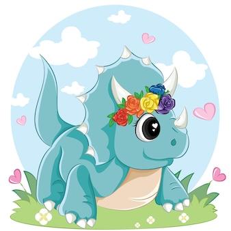 Ładny dinozaur triceratops na białym tle. mała ilustracja dino.