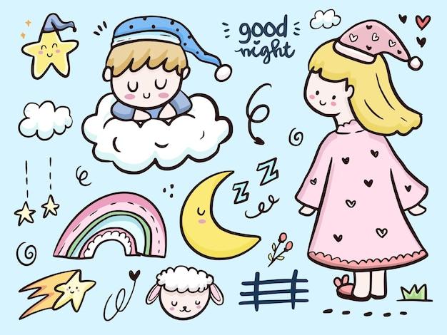 Ładny dobranoc rysunek doodle ilustracja kreskówka z tęczą i chmurami