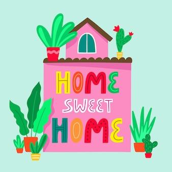 Ładny dom rodzinny z frazą napis home sweet home. letni domek z piękną przyrodą i kwitnącymi roślinami. posiadłość wiejska. kreskówka kolorowy