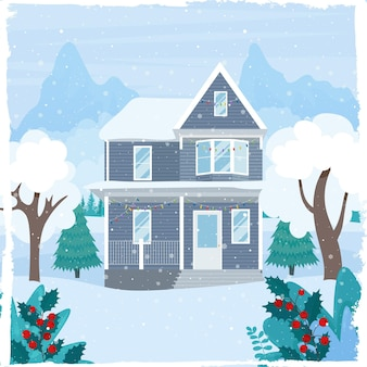 Ładny dom urządzony na boże narodzenie na zimowy krajobraz górski ilustracja wektorowa w stylu płaski