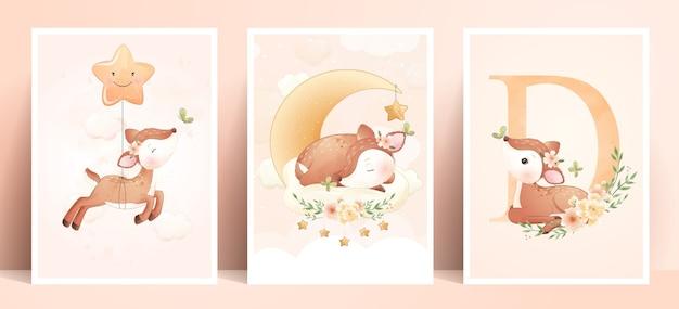 Ładny doodle jelenia z ilustracja kwiatowy zestaw