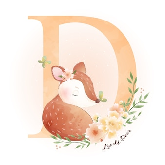 Ładny doodle jelenia z ilustracja kwiatowy
