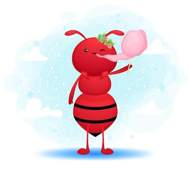 Ładny doodle mrówka dziewczyna jeść wata cukrowa ilustracja kreskówka