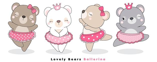 Ładny doodle niedźwiedzie baleriny na białym tle
