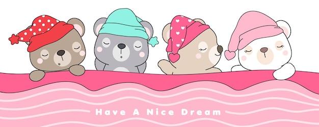 Ładny doodle niedźwiedzie spanie na białym tle