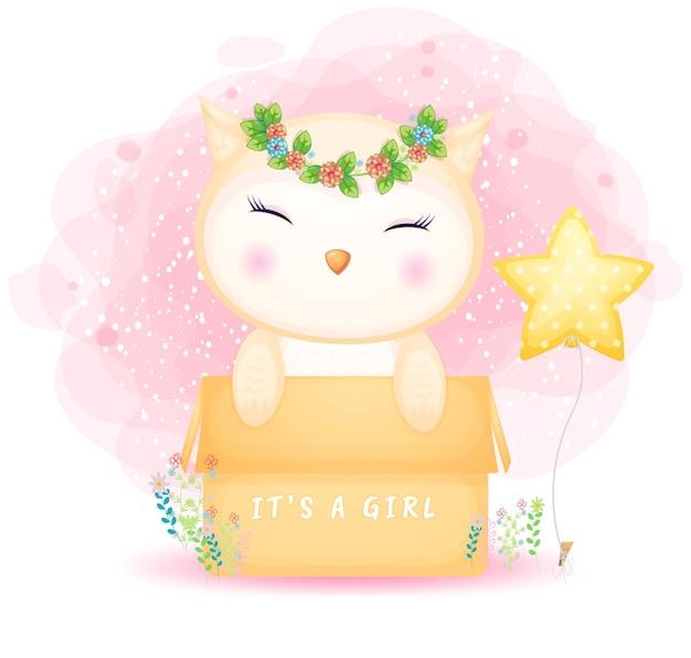 Ładny doodle sowa dziewczynka w pudełku kreskówek