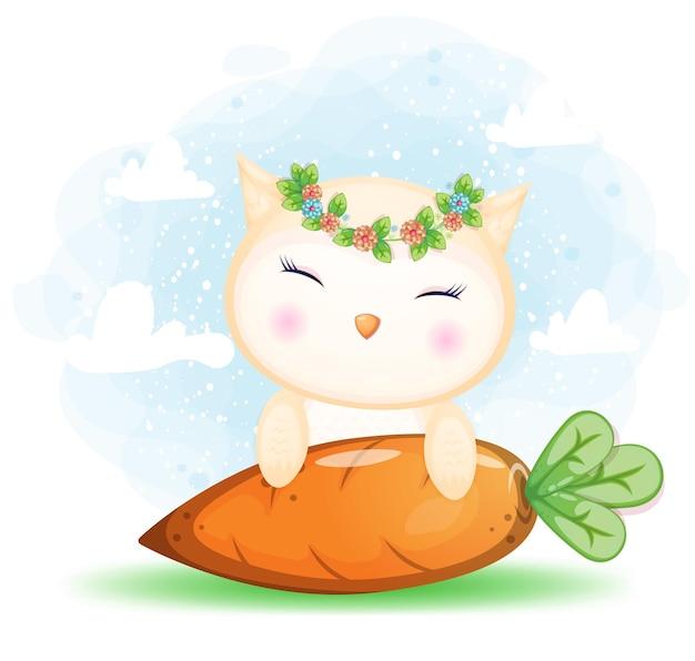 Ładny doodle sowa za duży kreskówka marchewki