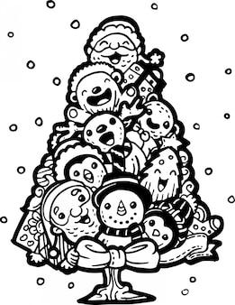 Ładny doodle w kształcie choinki.
