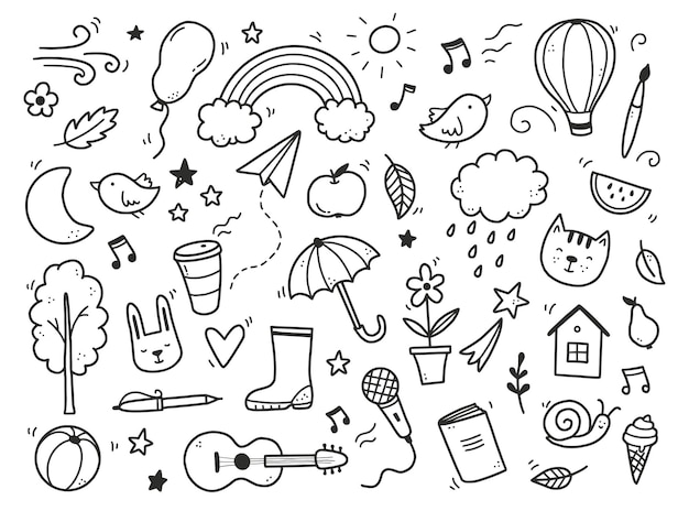 Ładny doodle z chmurą, tęczą, słońcem, elementem zwierzęcym. ręcznie rysowane styl dzieci linii. doodle ilustracja wektorowa tło.