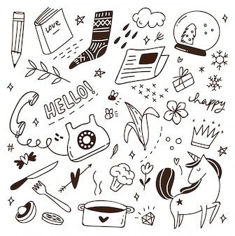 Ładny doodle z mieszanką różnych przedmiotów