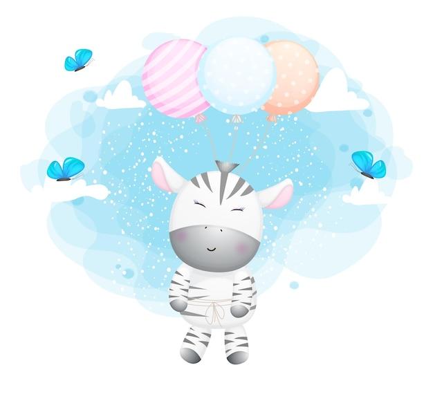 Ładny doodle zebra latający z balonem postać z kreskówki