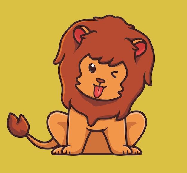 Ładny drażni lew kreskówka zwierzę natura koncepcja na białym tle ilustracja płaski styl naklejki